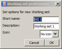 Working set edit menu